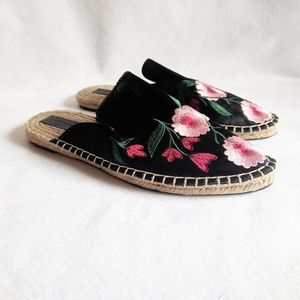 Zara Satin Embroidered Floral Espadrille Mules